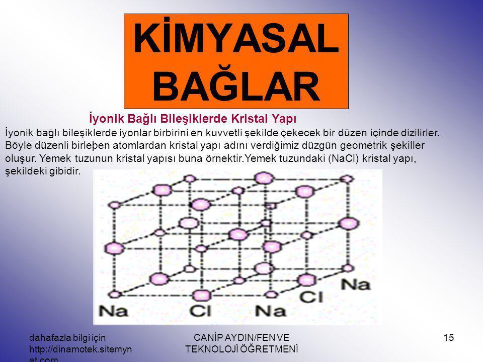 dahafazla bilgi için http://dinamotek.sitemyn et.com CANİP AYDIN/FEN VE TEKNOLOJİ ÖĞRETMENİ 15 KİMYASAL BAĞLAR İyonik Bağlı Bileşiklerde Kristal Yapı