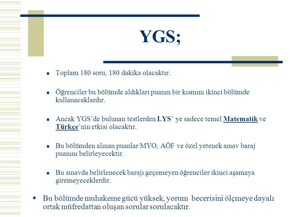 YGS; Toplam 180 soru, 180 dakika olacaktır.