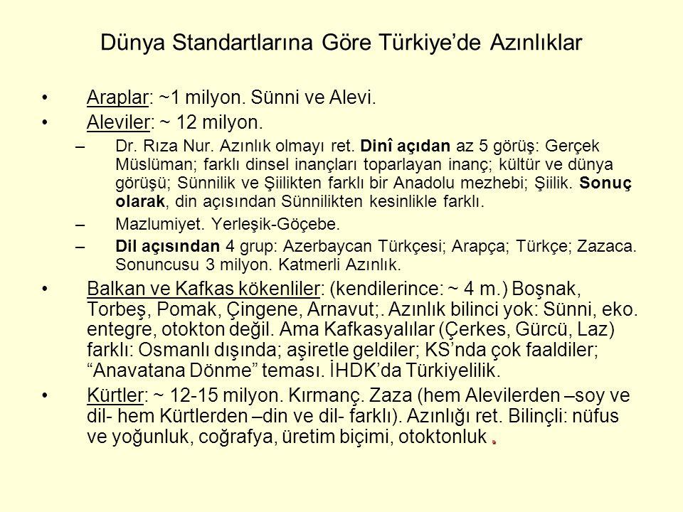 Dünya Standartlarına Göre Türkiye'de Azınlıklar Araplar: ~1 milyon.