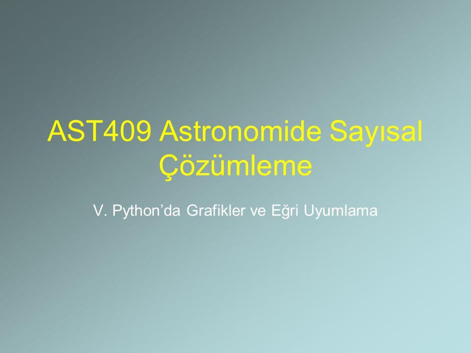 AST409 Astronomide Sayısal Çözümleme V. Python'da Grafikler ve Eğri Uyumlama