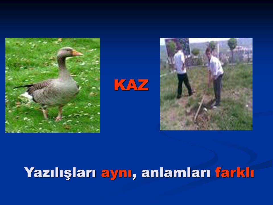 KAZ Yazılışları aynı, anlamları farklı Yazılışları aynı, anlamları farklı