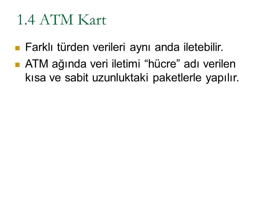 """1.4 ATM Kart Farklı türden verileri aynı anda iletebilir. ATM ağında veri iletimi """"hücre"""" adı verilen kısa ve sabit uzunluktaki paketlerle yapılır."""