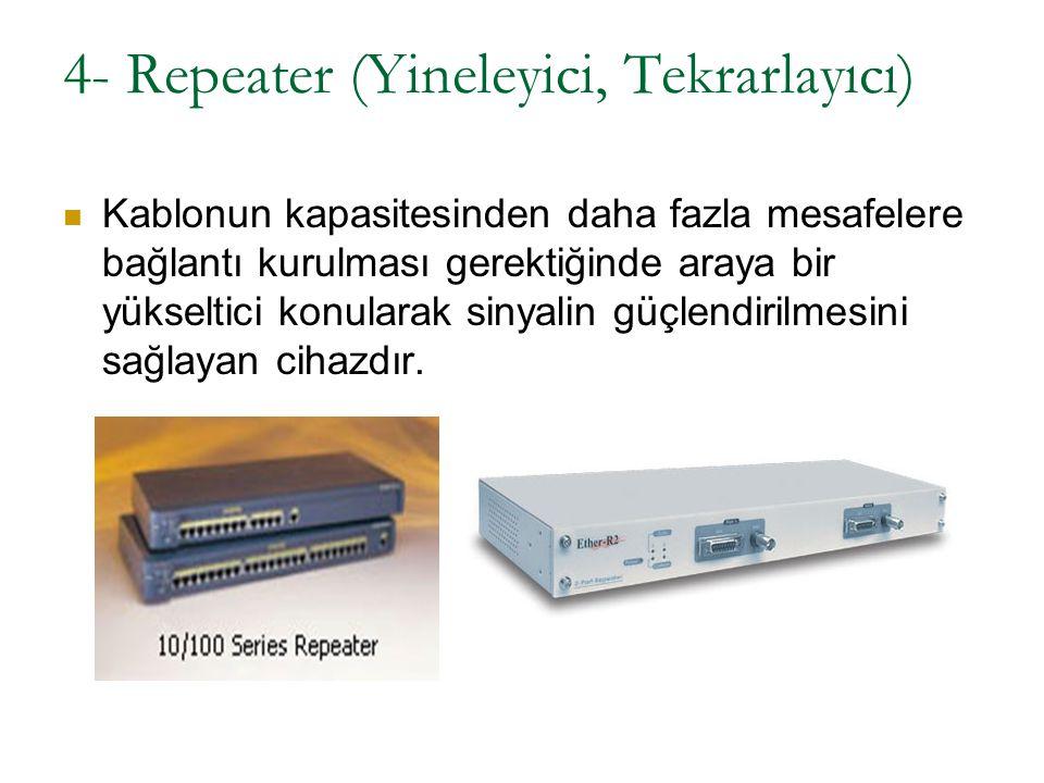 4- Repeater (Yineleyici, Tekrarlayıcı) Kablonun kapasitesinden daha fazla mesafelere bağlantı kurulması gerektiğinde araya bir yükseltici konularak si