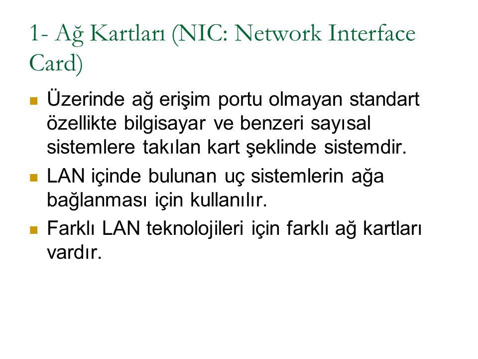 1- Ağ Kartları (NIC: Network Interface Card) Üzerinde ağ erişim portu olmayan standart özellikte bilgisayar ve benzeri sayısal sistemlere takılan kart