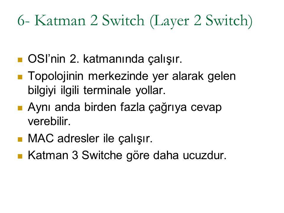 6- Katman 2 Switch (Layer 2 Switch) OSI'nin 2. katmanında çalışır. Topolojinin merkezinde yer alarak gelen bilgiyi ilgili terminale yollar. Aynı anda