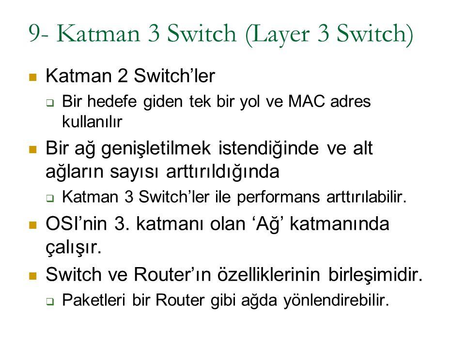 9- Katman 3 Switch (Layer 3 Switch) Katman 2 Switch'ler  Bir hedefe giden tek bir yol ve MAC adres kullanılır Bir ağ genişletilmek istendiğinde ve al