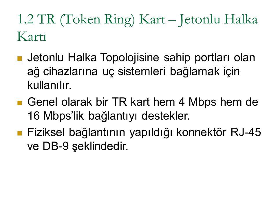 1.2 TR (Token Ring) Kart – Jetonlu Halka Kartı Jetonlu Halka Topolojisine sahip portları olan ağ cihazlarına uç sistemleri bağlamak için kullanılır. G