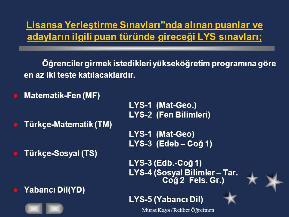 Murat Kaya / Rehber Öğretmen LİSANS YERLEŞTİRME SINAVLARI ( LYS )'nin GENEL ÖZELLİKLERİ Her teste tahminen 120-150 arası soru bulunacak ve yaklaşık 2,5 saat süre verilecektir.
