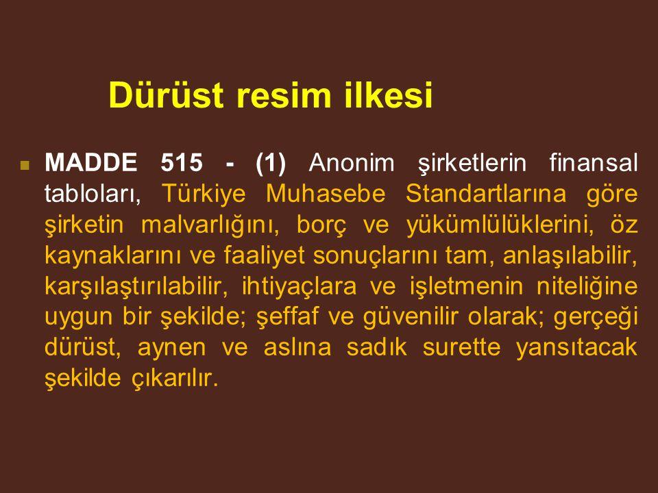 Dürüst resim ilkesi MADDE 515 - (1) Anonim şirketlerin finansal tabloları, Türkiye Muhasebe Standartlarına göre şirketin malvarlığını, borç ve yükümlülüklerini, öz kaynaklarını ve faaliyet sonuçlarını tam, anlaşılabilir, karşılaştırılabilir, ihtiyaçlara ve işletmenin niteliğine uygun bir şekilde; şeffaf ve güvenilir olarak; gerçeği dürüst, aynen ve aslına sadık surette yansıtacak şekilde çıkarılır.