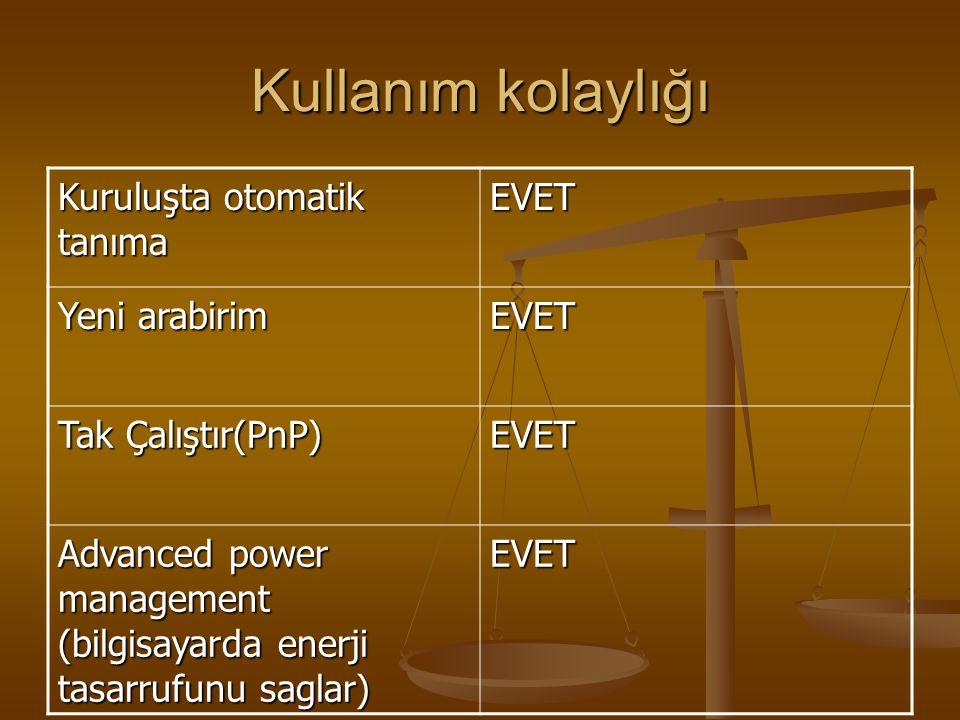 Kullanım kolaylığı Kuruluşta otomatik tanıma EVET Yeni arabirim EVET Tak Çalıştır(PnP) EVET Advanced power management (bilgisayarda enerji tasarrufunu