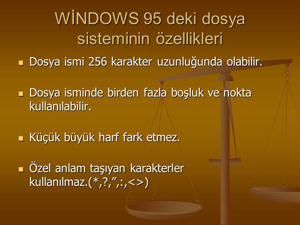WİNDOWS 95 deki dosya sisteminin özellikleri Dosya ismi 256 karakter uzunluğunda olabilir. Dosya ismi 256 karakter uzunluğunda olabilir. Dosya isminde