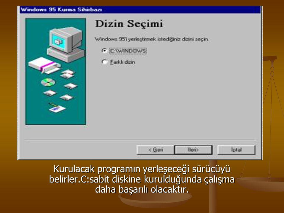 Kurulacak programın yerleşeceği sürücüyü belirler.C:sabit diskine kurulduğunda çalışma daha başarılı olacaktır.