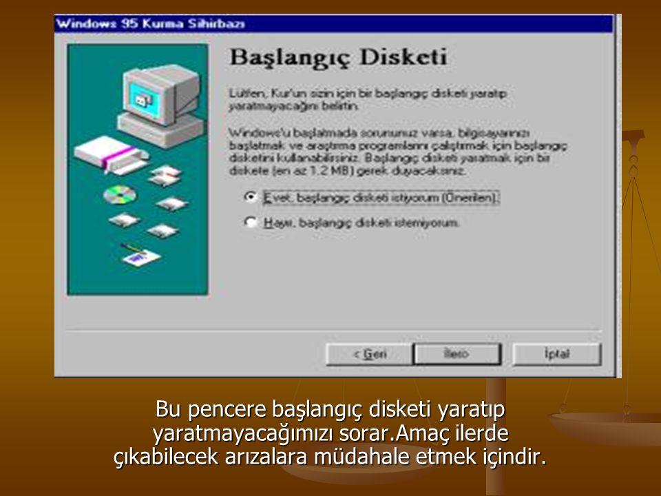 Bu pencere başlangıç disketi yaratıp yaratmayacağımızı sorar.Amaç ilerde çıkabilecek arızalara müdahale etmek içindir.