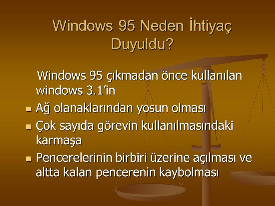 Windows 95 Neden İhtiyaç Duyuldu? Windows 95 çıkmadan önce kullanılan windows 3.1'in Windows 95 çıkmadan önce kullanılan windows 3.1'in Ağ olanakların