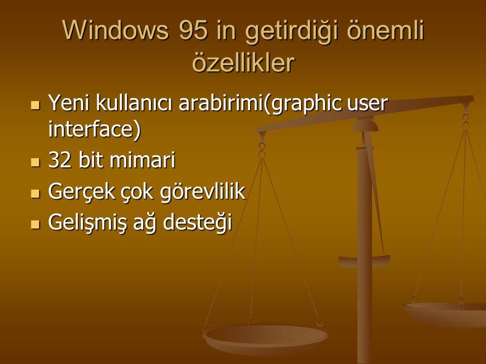 Windows 95 Avantajları 32 bitlik bir altyapı sunması 32 bitlik bir altyapı sunması Dos'a göre daha hızlı Dos'a göre daha hızlı Uzun dosya isimlerine izin vermesi(255 karaktere kadar) Uzun dosya isimlerine izin vermesi(255 karaktere kadar) Tak ve çalıştır desteği(takılan ses kartını ve modemi otomatik tanıma) Tak ve çalıştır desteği(takılan ses kartını ve modemi otomatik tanıma) Daha iyi bir oyun desteği Daha iyi bir oyun desteği