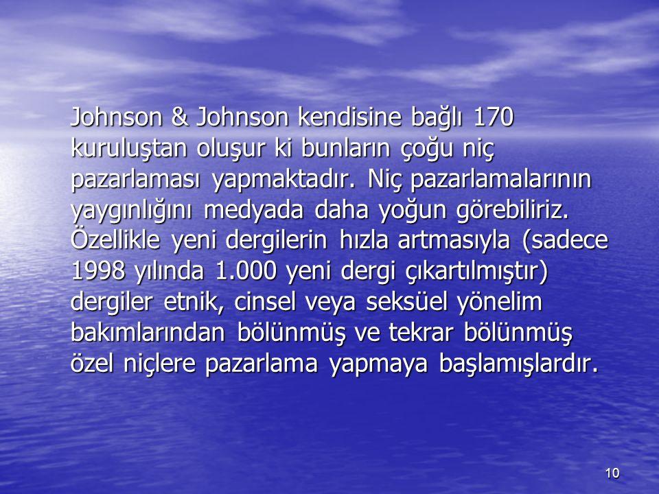 10 Johnson & Johnson kendisine bağlı 170 kuruluştan oluşur ki bunların çoğu niç pazarlaması yapmaktadır. Niç pazarlamalarının yaygınlığını medyada dah
