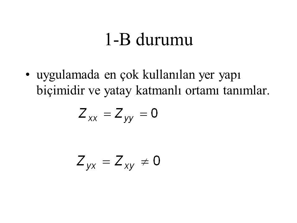 1-B durumu uygulamada en çok kullanılan yer yapı biçimidir ve yatay katmanlı ortamı tanımlar.