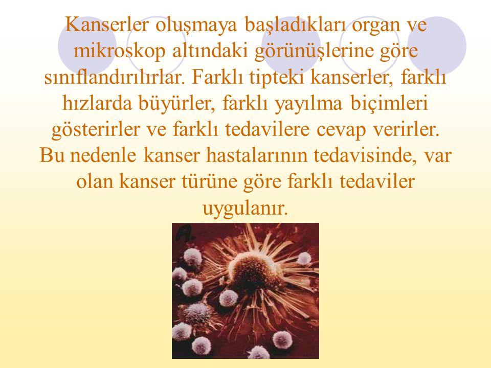 Kanserler oluşmaya başladıkları organ ve mikroskop altındaki görünüşlerine göre sınıflandırılırlar. Farklı tipteki kanserler, farklı hızlarda büyürler