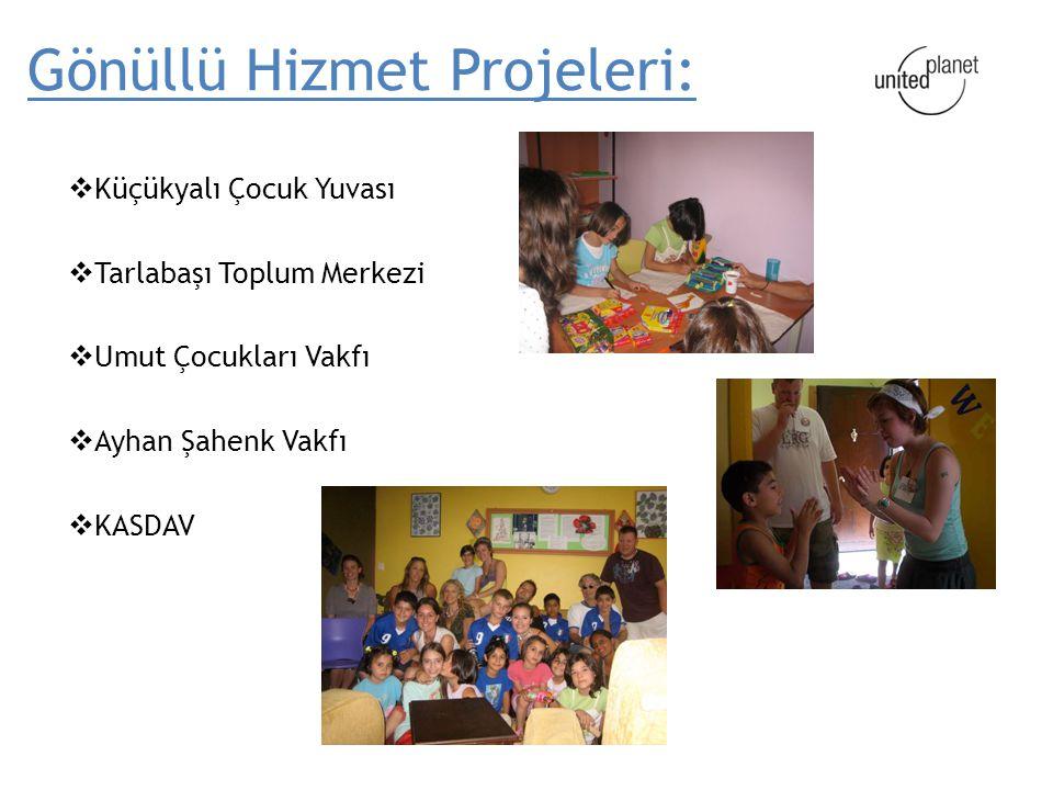 Gönüllü Hizmet Projeleri:  Küçükyalı Çocuk Yuvası  Tarlabaşı Toplum Merkezi  Umut Çocukları Vakfı  Ayhan Şahenk Vakfı  KASDAV