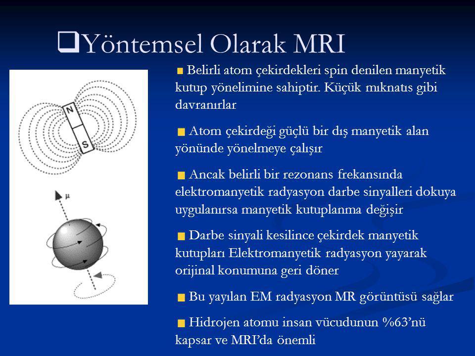   Yöntemsel Olarak MRI Belirli atom çekirdekleri spin denilen manyetik kutup yönelimine sahiptir. Küçük mıknatıs gibi davranırlar Atom çekirdeği güç