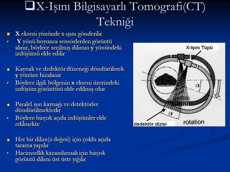   X-Işını Bilgisayarlı Tomografi(CT) Tekniği X ekseni yönünde x-ışını gönderilir X ekseni yönünde x-ışını gönderilir  Y yönü boyunca sensörlerden g