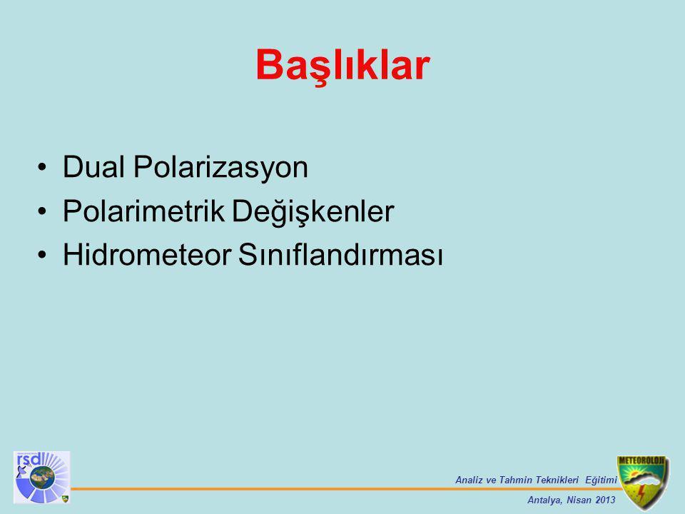 Analiz ve Tahmin Teknikleri Eğitimi Antalya, Nisan 2013 Başlıklar Dual Polarizasyon Polarimetrik Değişkenler Hidrometeor Sınıflandırması