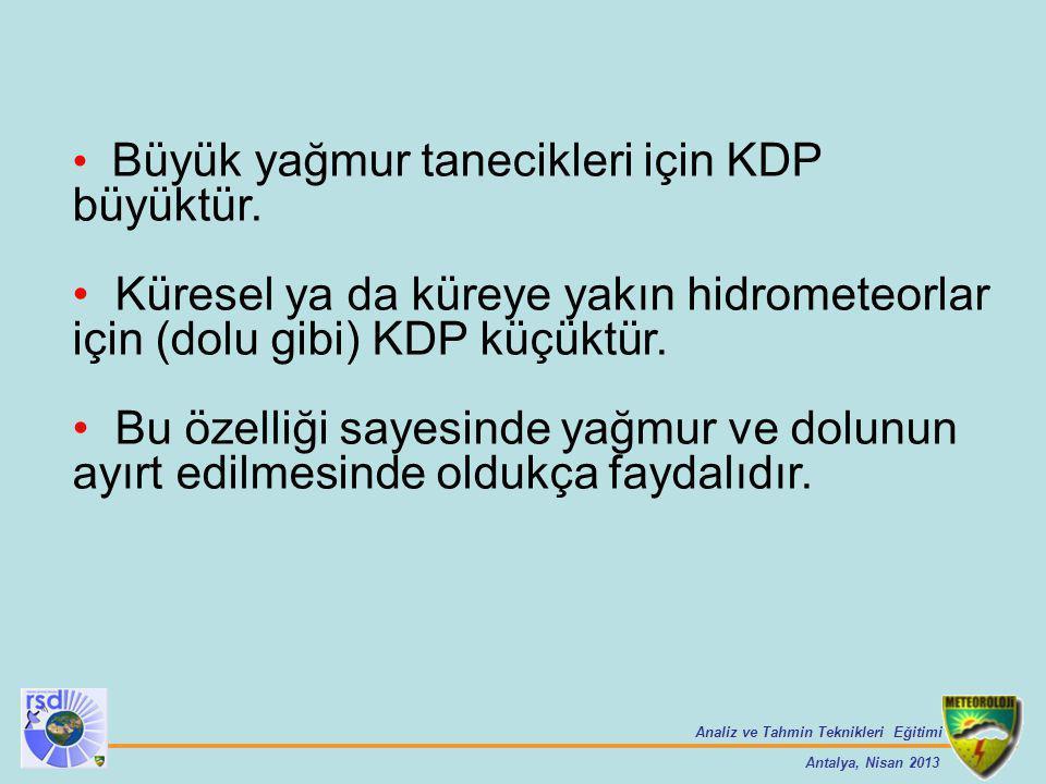 Analiz ve Tahmin Teknikleri Eğitimi Antalya, Nisan 2013 Büyük yağmur tanecikleri için KDP büyüktür. Küresel ya da küreye yakın hidrometeorlar için (do