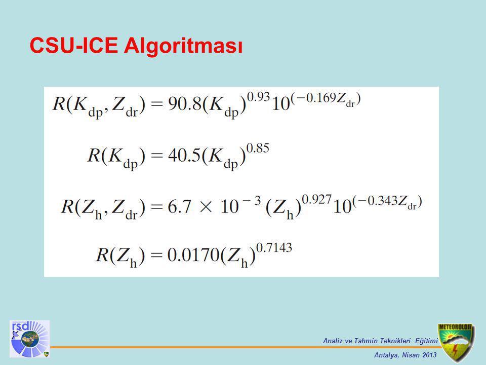 Analiz ve Tahmin Teknikleri Eğitimi Antalya, Nisan 2013 CSU-ICE Algoritması