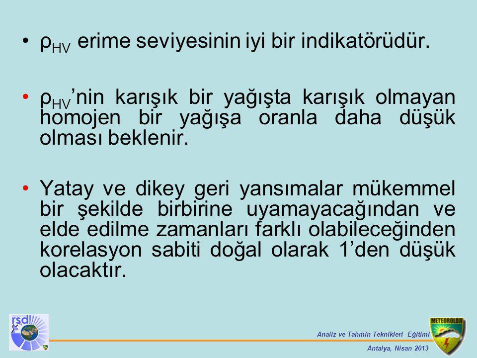 Analiz ve Tahmin Teknikleri Eğitimi Antalya, Nisan 2013 ρ HV erime seviyesinin iyi bir indikatörüdür. ρ HV 'nin karışık bir yağışta karışık olmayan ho