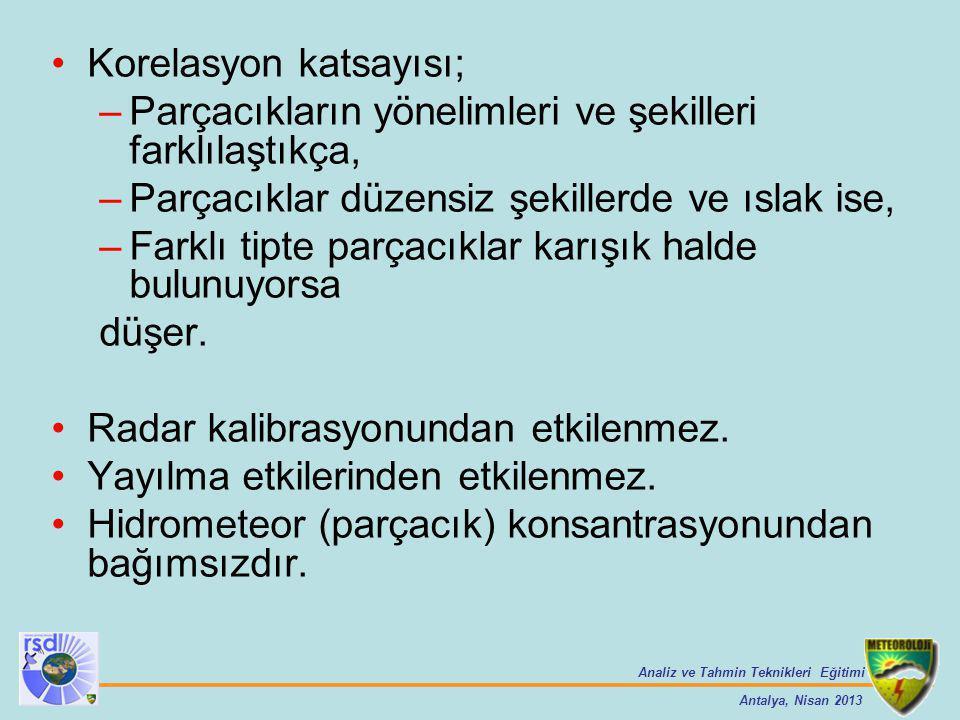 Analiz ve Tahmin Teknikleri Eğitimi Antalya, Nisan 2013 Korelasyon katsayısı; –Parçacıkların yönelimleri ve şekilleri farklılaştıkça, –Parçacıklar düz