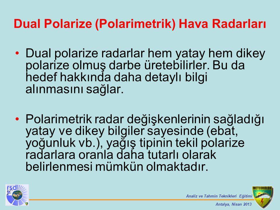 Analiz ve Tahmin Teknikleri Eğitimi Antalya, Nisan 2013 Dual Polarize (Polarimetrik) Hava Radarları Dual polarize radarlar hem yatay hem dikey polariz