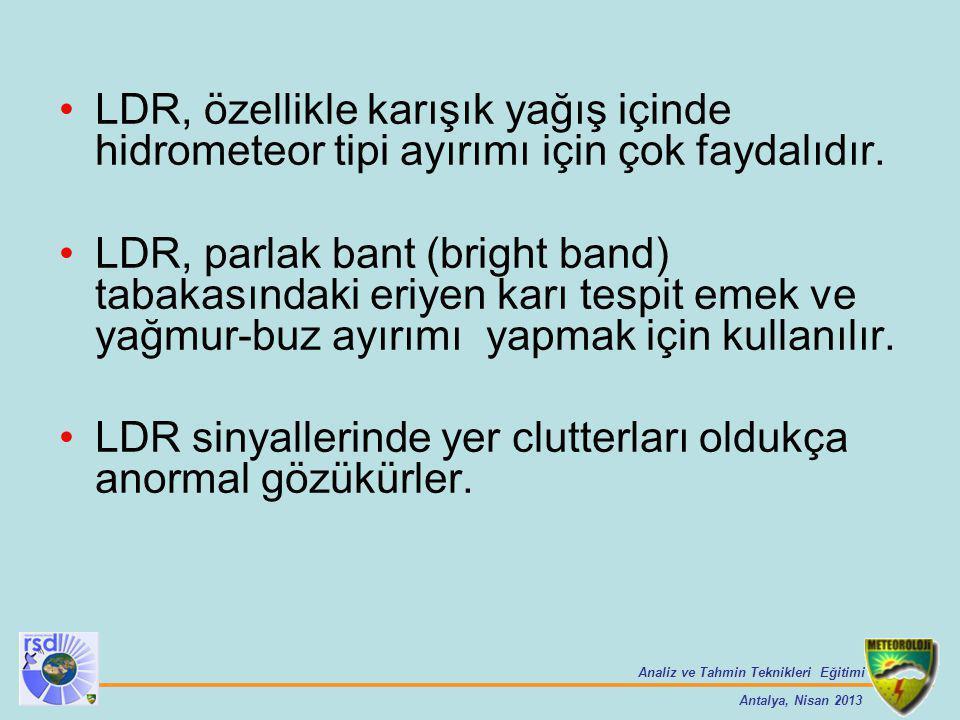 Analiz ve Tahmin Teknikleri Eğitimi Antalya, Nisan 2013 LDR, özellikle karışık yağış içinde hidrometeor tipi ayırımı için çok faydalıdır. LDR, parlak