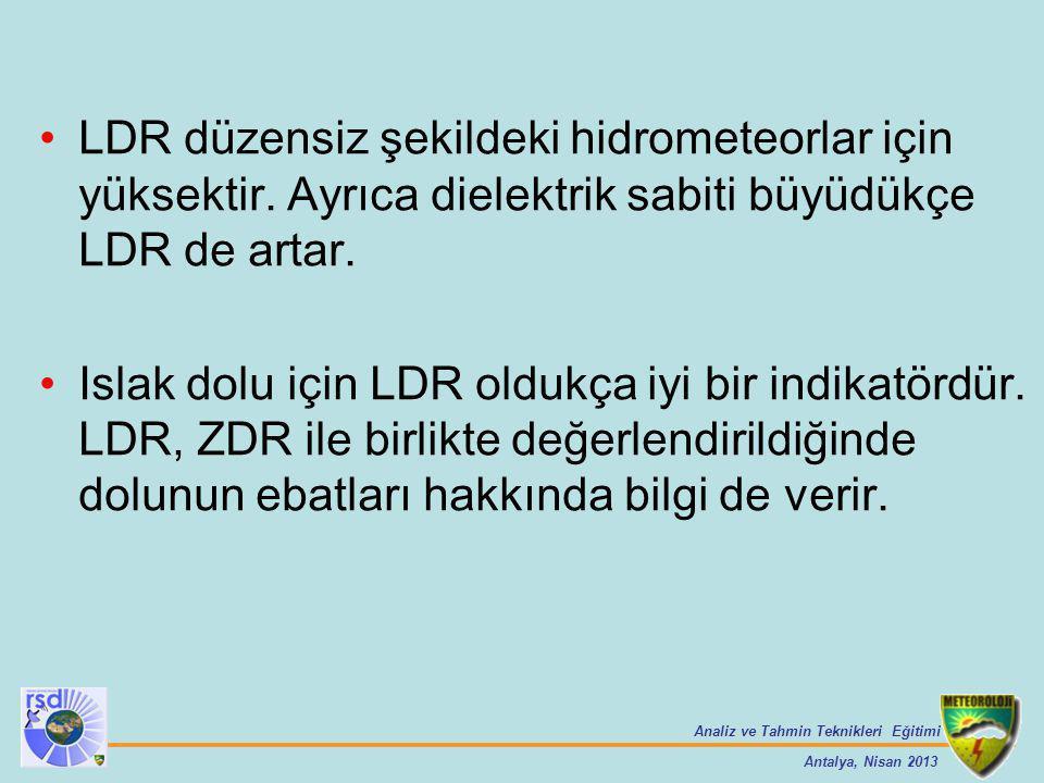 Analiz ve Tahmin Teknikleri Eğitimi Antalya, Nisan 2013 LDR düzensiz şekildeki hidrometeorlar için yüksektir. Ayrıca dielektrik sabiti büyüdükçe LDR d