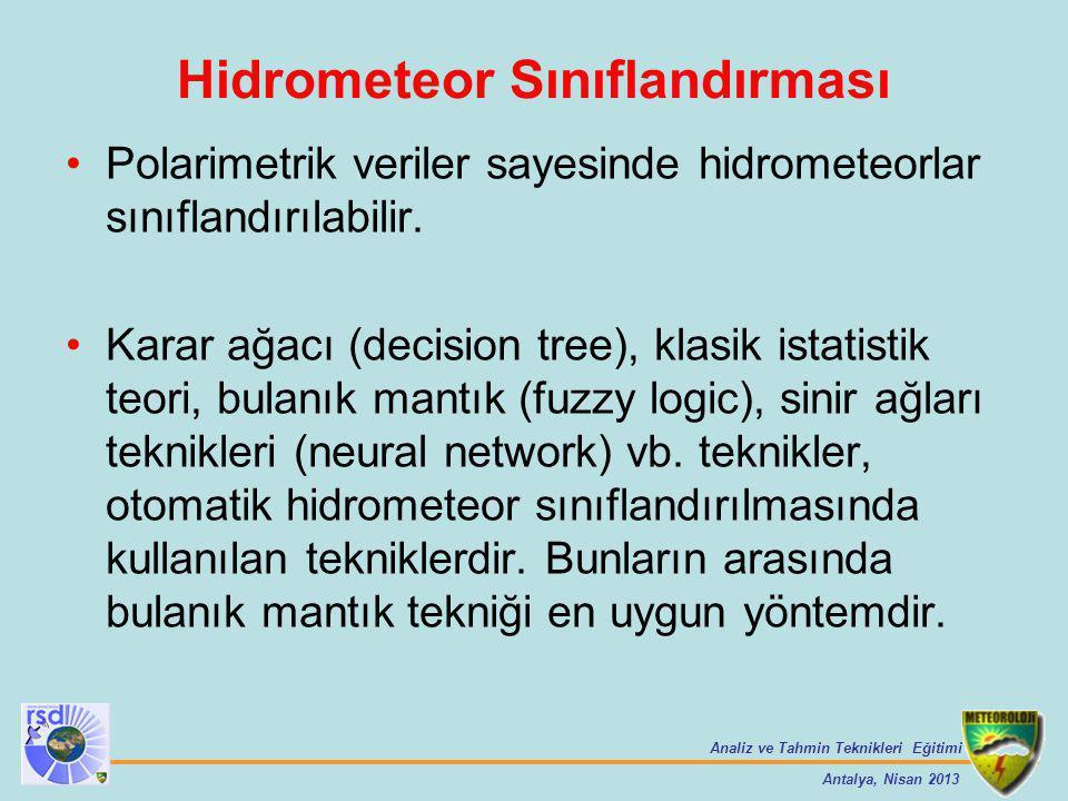 Analiz ve Tahmin Teknikleri Eğitimi Antalya, Nisan 2013 Polarimetrik veriler sayesinde hidrometeorlar sınıflandırılabilir. Karar ağacı (decision tree)