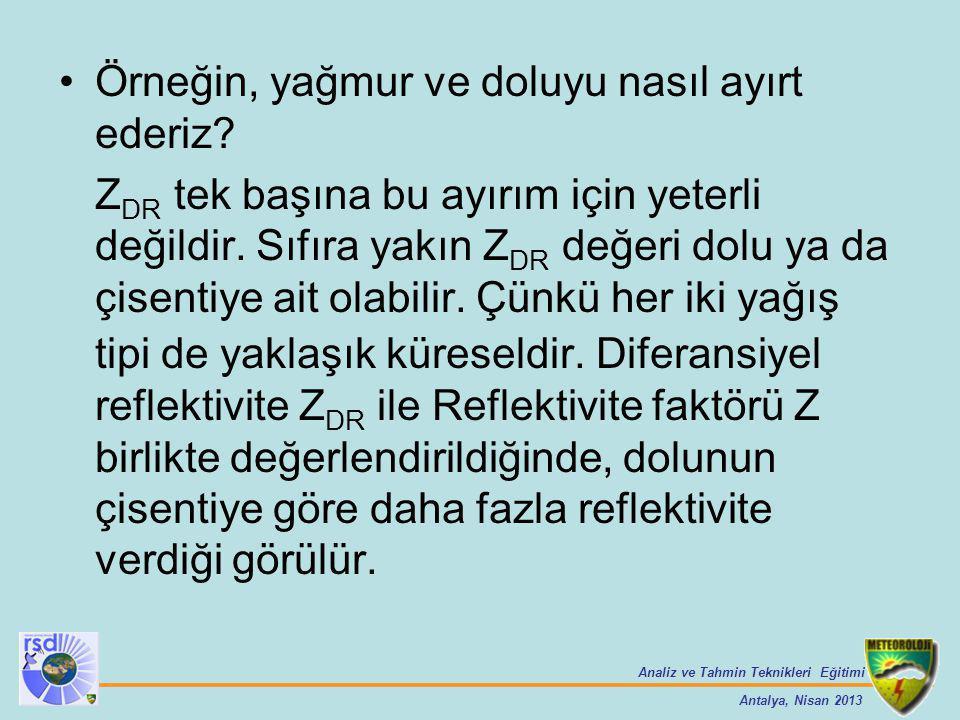 Analiz ve Tahmin Teknikleri Eğitimi Antalya, Nisan 2013 Örneğin, yağmur ve doluyu nasıl ayırt ederiz? Z DR tek başına bu ayırım için yeterli değildir.