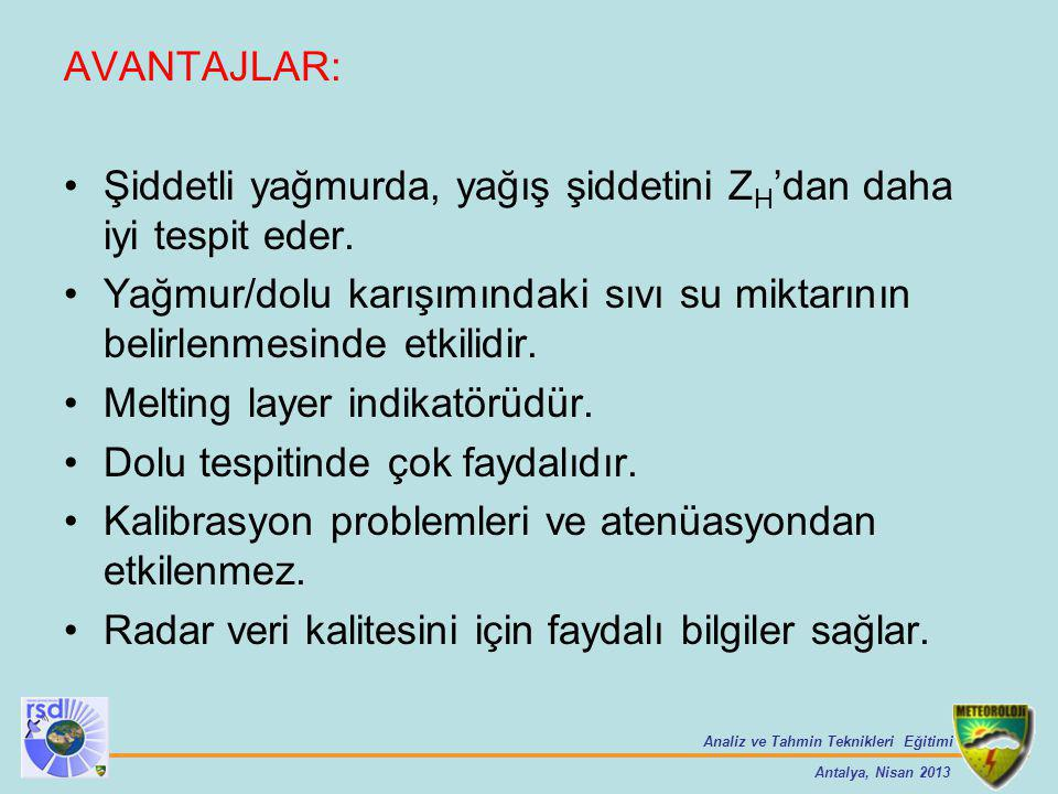 Analiz ve Tahmin Teknikleri Eğitimi Antalya, Nisan 2013 AVANTAJLAR: Şiddetli yağmurda, yağış şiddetini Z H 'dan daha iyi tespit eder. Yağmur/dolu karı