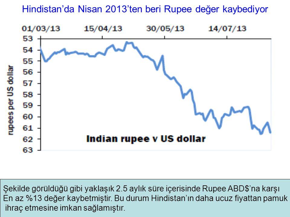 Hindistan'da Nisan 2013'ten beri Rupee değer kaybediyor Şekilde görüldüğü gibi yaklaşık 2.5 aylık süre içerisinde Rupee ABD$'na karşı En az %13 değer kaybetmiştir.