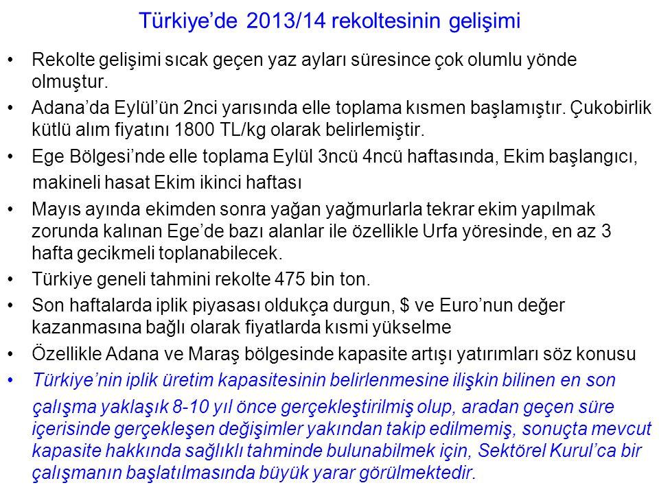 Türkiye'de 2013/14 rekoltesinin gelişimi Rekolte gelişimi sıcak geçen yaz ayları süresince çok olumlu yönde olmuştur.