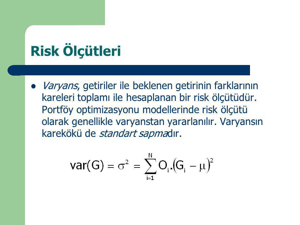 Risk Ölçütleri Varyans, getiriler ile beklenen getirinin farklarının kareleri toplamı ile hesaplanan bir risk ölçütüdür. Portföy optimizasyonu modelle