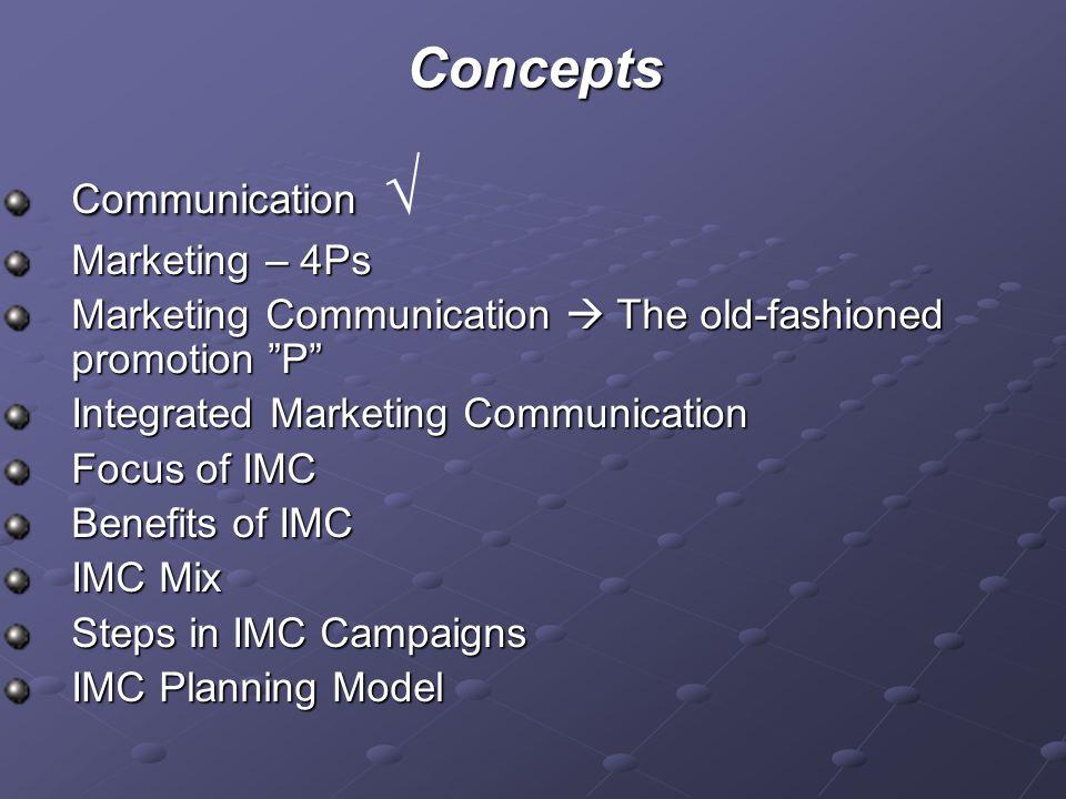"Concepts Communication Communication √ Marketing – 4Ps Marketing Communication  The old-fashioned promotion ""P"" Integrated Marketing Communication Fo"