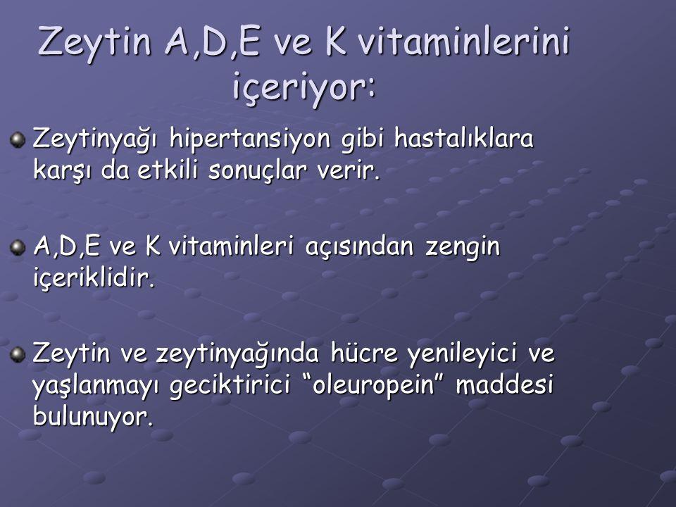 Zeytin A,D,E ve K vitaminlerini içeriyor: Zeytinyağı hipertansiyon gibi hastalıklara karşı da etkili sonuçlar verir. A,D,E ve K vitaminleri açısından