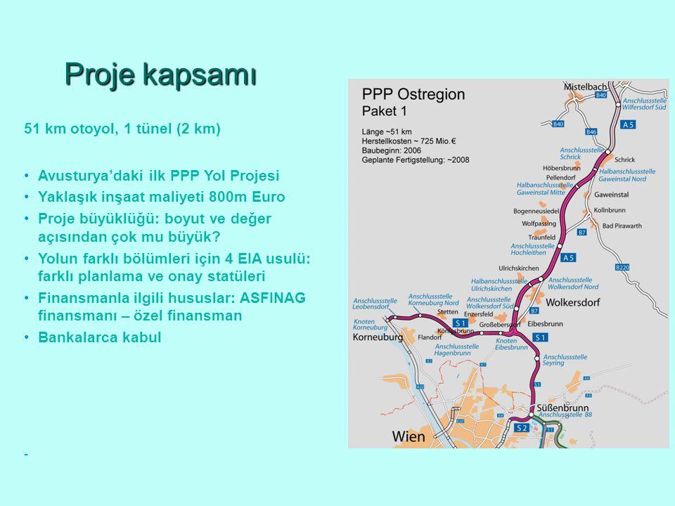Proje kapsamı Avusturya'daki ilk PPP Yol Projesi Yaklaşık inşaat maliyeti 800m Euro Proje büyüklüğü: boyut ve değer açısından çok mu büyük.