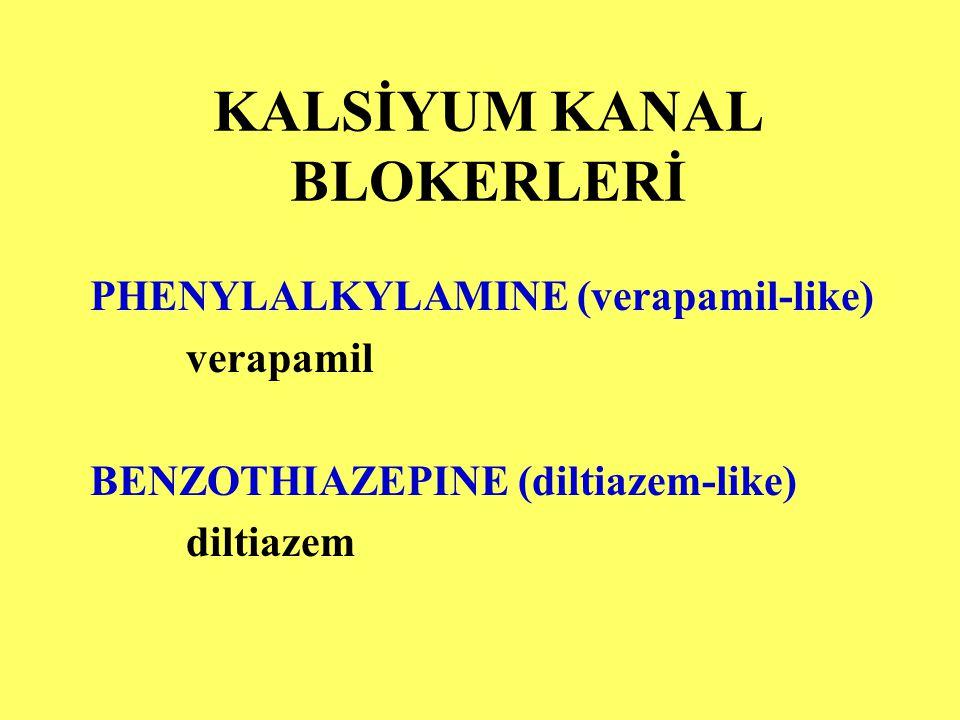 KALSİYUM KANAL BLOKERLERİ PHENYLALKYLAMINE (verapamil-like) verapamil BENZOTHIAZEPINE (diltiazem-like) diltiazem