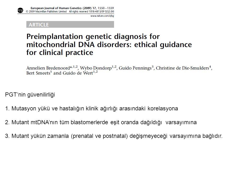 PGT'nin güvenilirliği 1. Mutasyon yükü ve hastalığın klinik ağırlığı arasındaki korelasyona 2. Mutant mtDNA'nın tüm blastomerlerde eşit oranda dağıldı