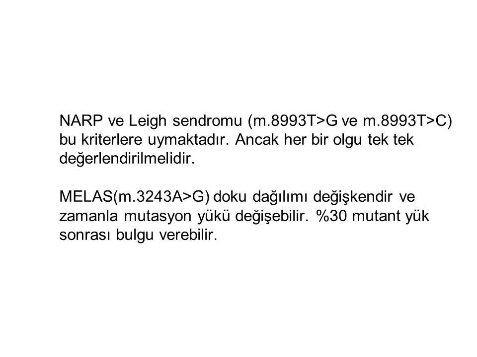NARP ve Leigh sendromu (m.8993T>G ve m.8993T>C) bu kriterlere uymaktadır. Ancak her bir olgu tek tek değerlendirilmelidir. MELAS(m.3243A>G) doku dağıl