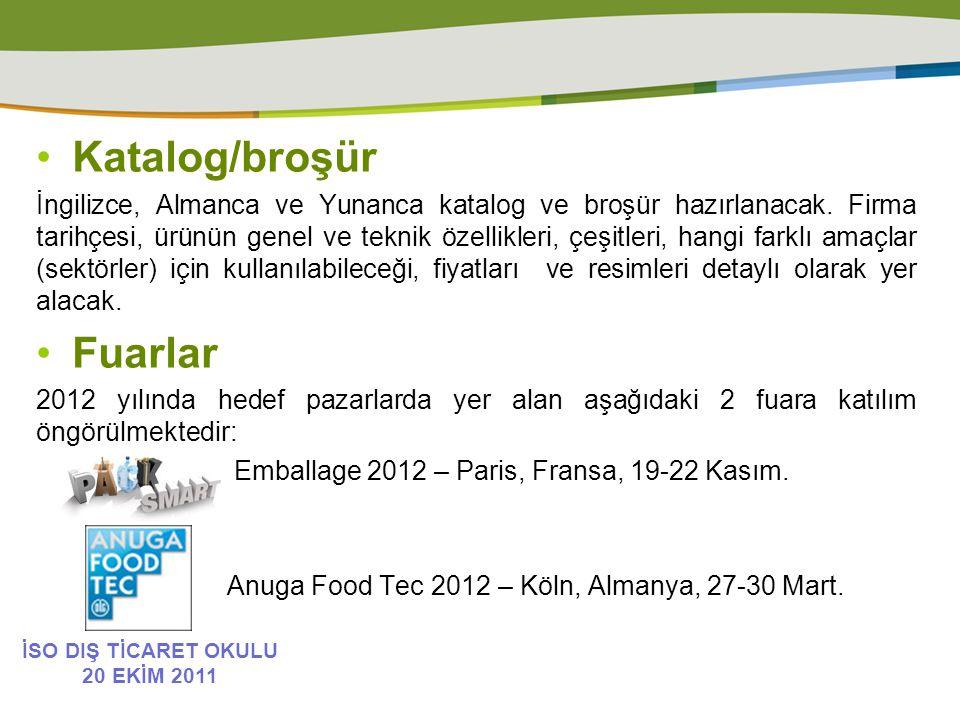 Katalog/broşür İngilizce, Almanca ve Yunanca katalog ve broşür hazırlanacak.