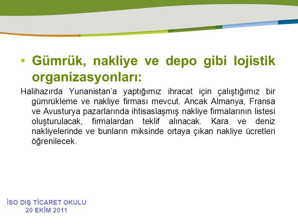 Gümrük, nakliye ve depo gibi lojistik organizasyonları: Halihazırda Yunanistan'a yaptığımız ihracat için çalıştığımız bir gümrükleme ve nakliye firması mevcut.