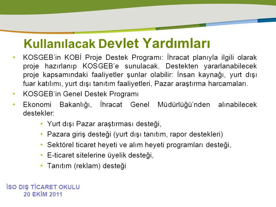 Kullanılacak D evlet Yardımları KOSGEB'in KOBİ Proje Destek Programı: İhracat planıyla ilgili olarak proje hazırlanıp KOSGEB'e sunulacak.