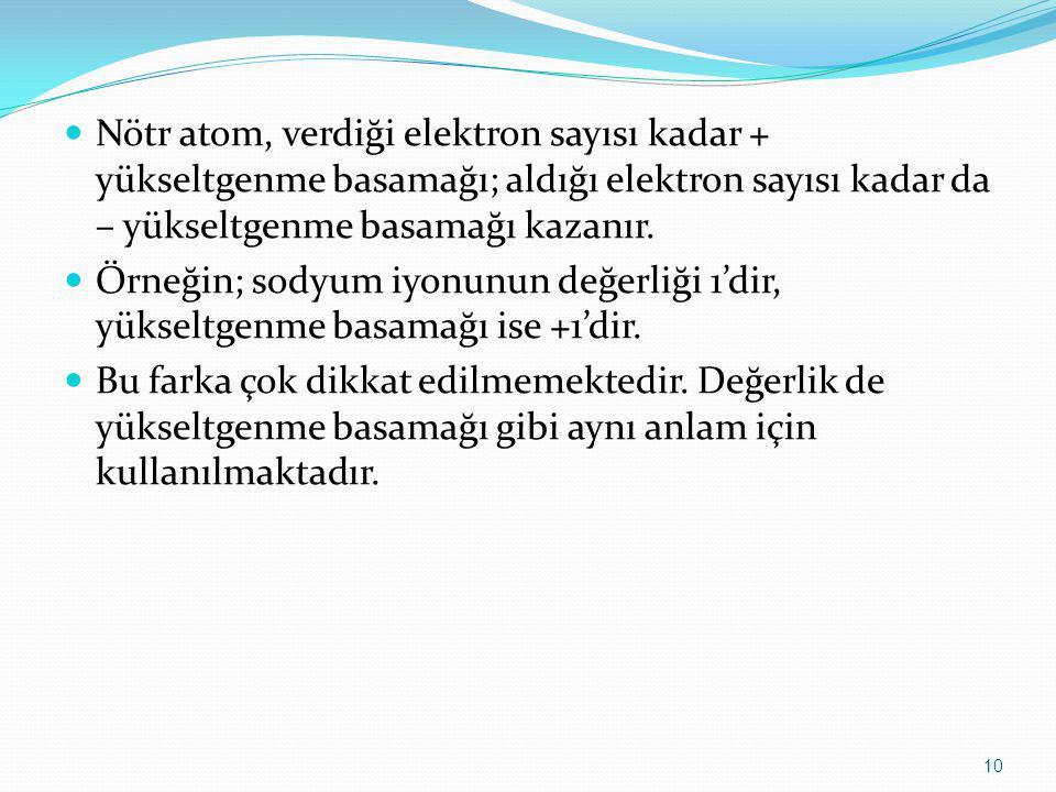 Nötr atom, verdiği elektron sayısı kadar + yükseltgenme basamağı; aldığı elektron sayısı kadar da – yükseltgenme basamağı kazanır. Örneğin; sodyum iyo