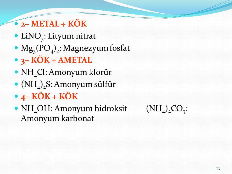 2– METAL + KÖK LiNO 3 : Lityum nitrat Mg 3 (PO 4 ) 2 : Magnezyum fosfat 3– KÖK + AMETAL NH 4 Cl: Amonyum klorür (NH 4 ) 2 S: Amonyum sülfür 4– KÖK + K